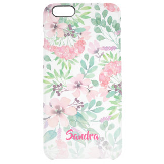 Modern Girly Pink Spring Flowers Pattern Clear iPhone 6 Plus Case