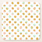 Modern Girly Pink Teal Gold Glitter Polka Dots Square Paper Coaster