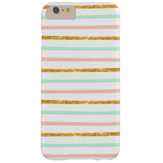 Modern Girly Pink Teal Gold Glitter Stripe Pattern Barely There iPhone 6 Plus Case