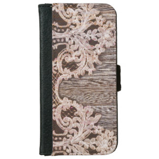 modern girly rustic barn wood western country lace iPhone 6 wallet case