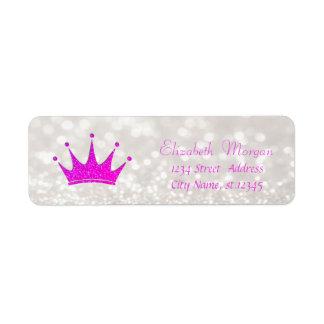 Modern Girly  Stylish Glittery Bokeh,Tiara Return Address Label