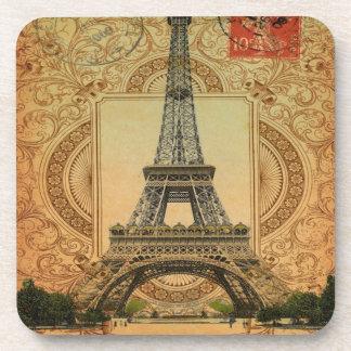 modern girly swirls pattern vintage eiffel tower beverage coasters