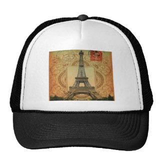 modern girly swirls pattern vintage eiffel tower trucker hats