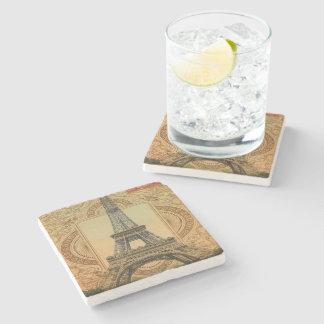 modern girly swirls vintage paris eiffel tower stone beverage coaster