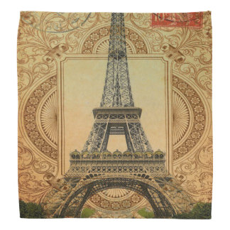 modern girly swirls vintage paris eiffel tower bandana