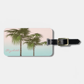 Modern Girly  Tropical, Palm Tree Luggage Tag