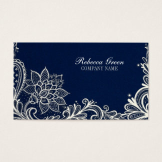 modern girly white lace navy blue swirls fashion business card