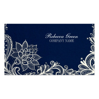 modern girly white lace navy blue swirls fashion pack of standard business cards