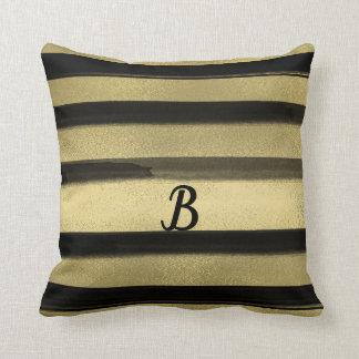 Modern Glam Black & Gold Brush Stroke Stripe Chic Cushion