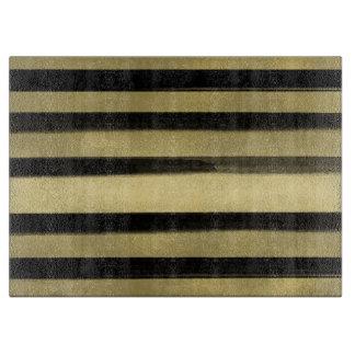 Modern Glam Black & Gold Brush Stroke Stripe Chic Cutting Board
