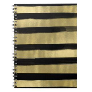 Modern Glam Black & Gold Brush Stroke Stripe Chic Spiral Notebook