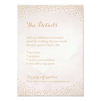 Modern glam blush rose gold confetti detail card 11 cm x 16 cm invitation card