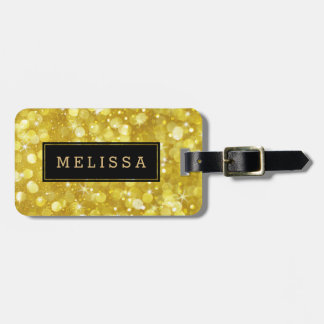 Modern Glam Gold Bokeh Glitter Black Accent Luggage Tag