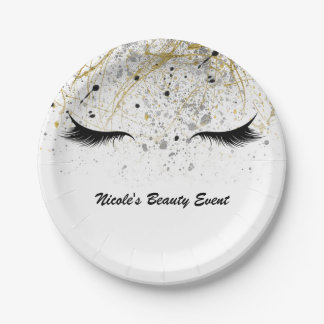 Modern Glam Gold Silver Black Eyelashes Beauty Paper Plate