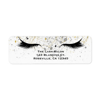 Modern Glam Gold Silver Black Eyelashes Beauty Return Address Label