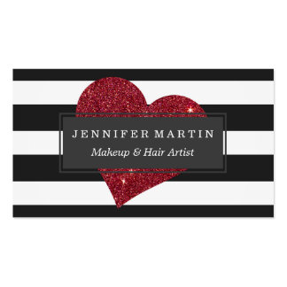 Modern Glamorous Red Faux Glitter Heart Stripes Pack Of Standard Business Cards