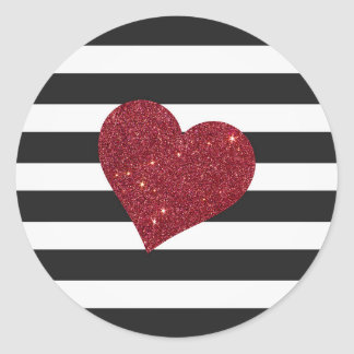 Modern Glamorous Red Faux Glitter Heart Stripes Round Sticker