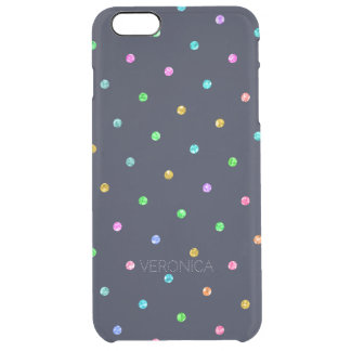 Modern Glitter Texture Colorful Dots Pattern Clear iPhone 6 Plus Case