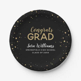Modern Glitz Personalized Graduation Paper Plate