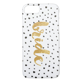 Modern Gold and Black Dots Bride iPhone 7 Case