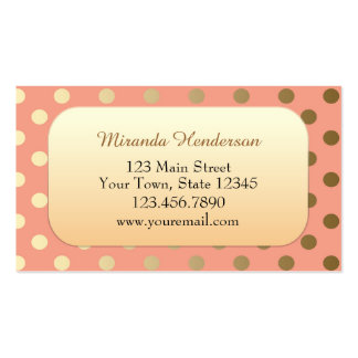 Modern Gold and Coral Polka Dot Business Card