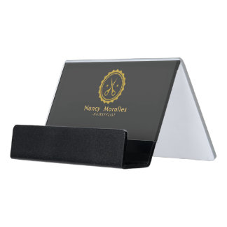 Modern Gold And Gray Hairstylist Logo Desk Business Card Holder