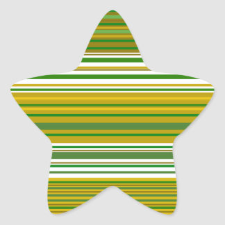 Modern gold and green stripes star sticker
