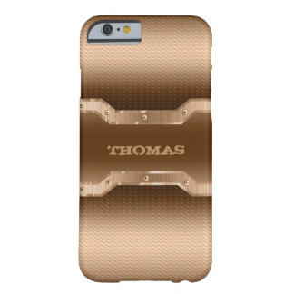 Modern Gold And Light Brown Brushed Metal Look Barely There iPhone 6 Case