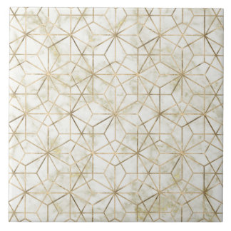 Modern gold and marble geometric star flower image ceramic tile
