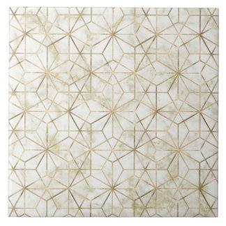 Modern gold and marble geometric star flower image ceramic tile