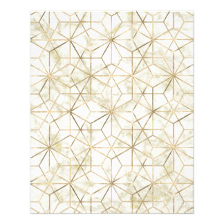 Modern gold and marble geometric star flower image flyer