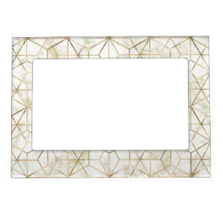 Modern gold and marble geometric star flower image magnetic frame