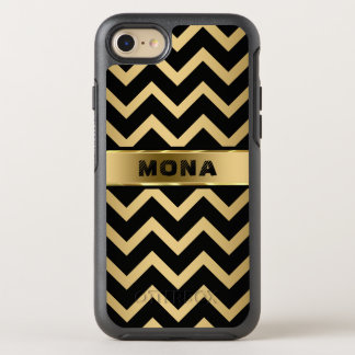 Modern Gold Background And Black Chevron OtterBox Symmetry iPhone 8/7 Case