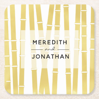 Modern Gold Bamboo Grove Wedding Coaster