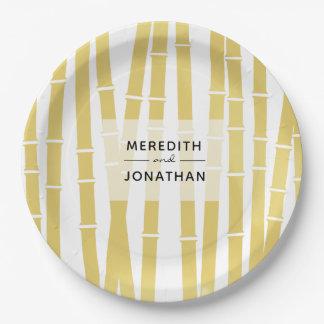 Modern Gold Bamboo Grove Wedding Paper Plate