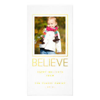 Modern Gold Believe | Holiday Photo Card