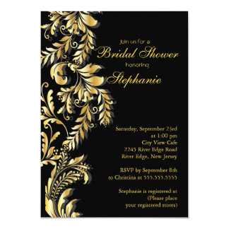 Modern Gold Black Leaf Swirl Bridal Shower Card