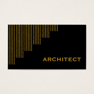 Modern gold, black vertical stripes architect business card