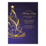 Modern Gold & Blue Christmas Holiday Party Invitation