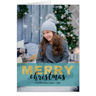 Modern Gold Blue Merry Christmas - Photo Card