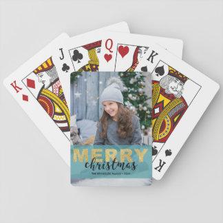 Modern Gold Blue Merry Christmas Photo Card Deck