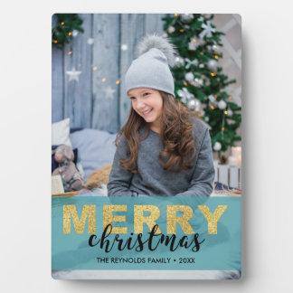 Modern Gold Blue Merry Christmas - Photo Plaque