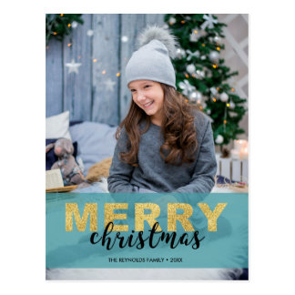 Modern Gold Blue Merry Christmas Photo - Postcard