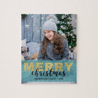 Modern Gold Blue Merry Christmas Photo - Puzzle