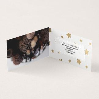Modern gold Christmas stars geometric pattern Business Card