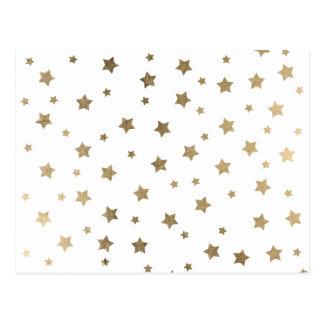 Modern gold Christmas stars geometric pattern Postcard