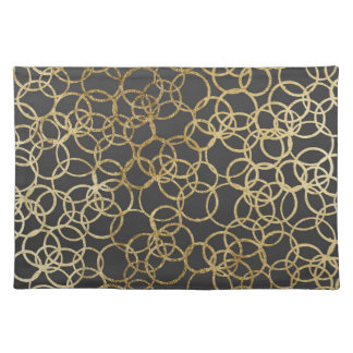 Modern Gold Circles on Charcoal Black Placemat
