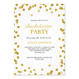 Modern Gold Confetti Bachelorette Party Invite