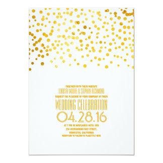 Modern Gold Confetti Wedding Invitation