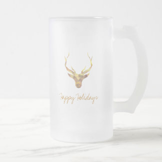Modern Gold Deer, Holiday Frosted Glass Beer Mug